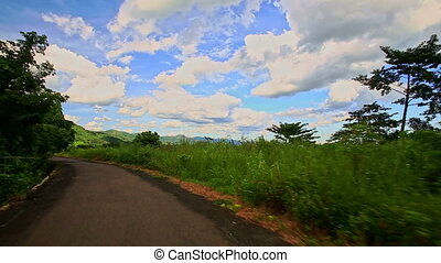 mouvement, pays, vallonné, curvy, vert, route, long, paysage