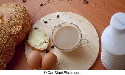 mouvement, petit déjeuner, haut, vidéo, lent, vue, fin, table, sain, sommet