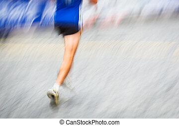mouvement, pieds, coureur, ville, environnement, brouillé