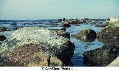 mouvement, pierre, lent, grand, eau, mer