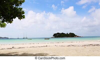 mouvement, plage, seychelles, lent, paradis