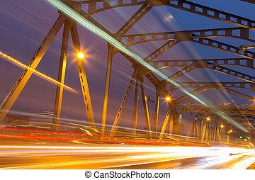 mouvement, pont, nuit, urbain