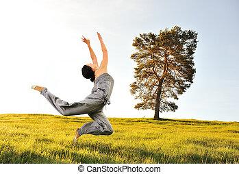 mouvement, pré vert, nature