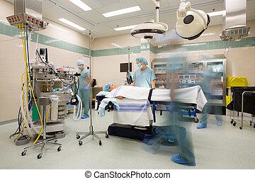 mouvement, préparation, opération, suite, barbouillage