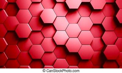 mouvement, résumé, aléatoire, hexagones, arrière-plan animation, 3d