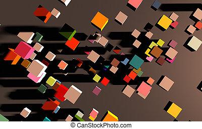 mouvement, résumé, cube, carrée, fond