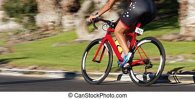 mouvement, race bicyclette, vélo, barbouillage, cavalier