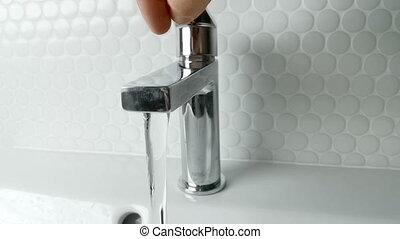 mouvement, robinet eau, dehors, lent