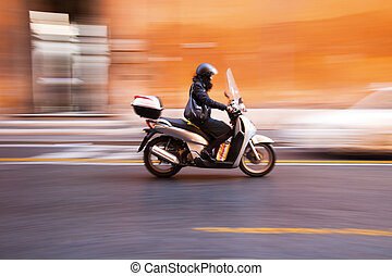 mouvement, rome, italie, romain, barbouillage, scooter