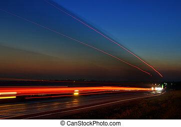 mouvement, route, nuit