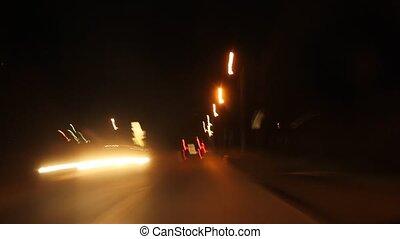 mouvement, route, nuit, vitesse