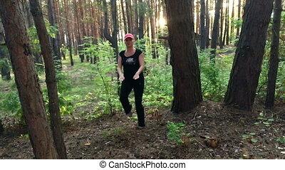 mouvement, soir, lent, forêt, fitness