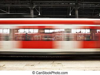 mouvement, station, train, rouges