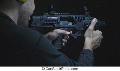 mouvement, super, lent, fusil fusillade