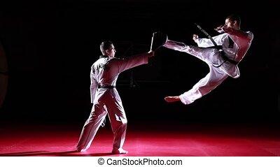 mouvement, taekwondo, lent, coups pied