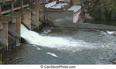 mouvement, tourbillons, lent, barrage, eau, ruisseaux, bas, automne, rivière, eclabousse