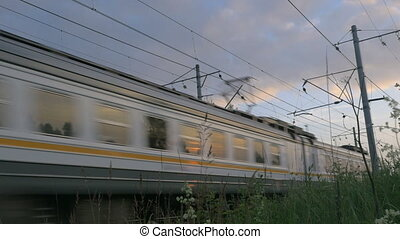 mouvement, train, banlieusard