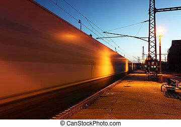 mouvement, train, dans, station