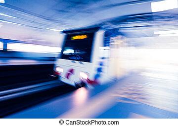 mouvement, train, effet, métro, barbouillage