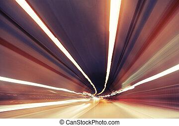 mouvement,  tunnel, beaucoup, moderne, Brouillé, mis valeur, lumières, trafic, en mouvement