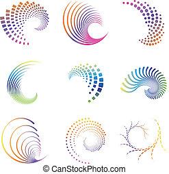 mouvement, vague, conception, icônes