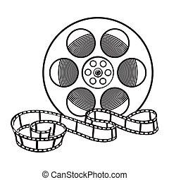 mouvement, vecteur, cinéma, image, style, bobine cinématographique, illustration, croquis, classique