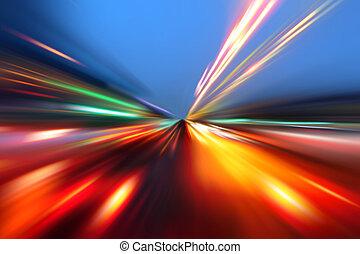 mouvement, vitesse, route, nuit
