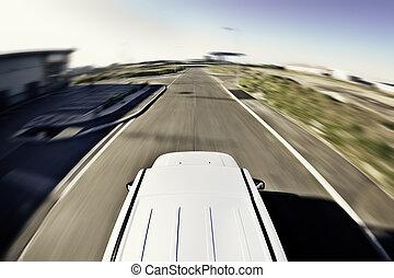mouvement, voiture, 4x4