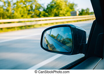 mouvement, voiture, concept, fenêtre., vue