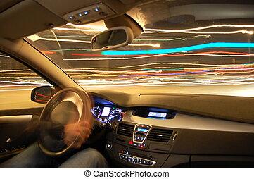mouvement, voiture, nuit
