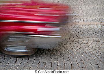 mouvement, voiture, rouges, brouillé