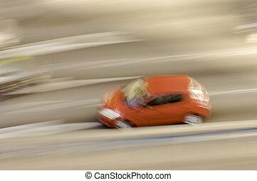 mouvement, voiture, rouges