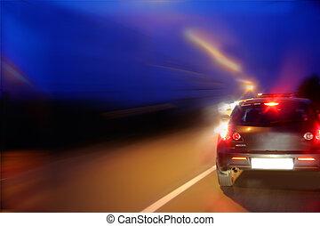 mouvement, voiture, rue, vitesse