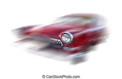 mouvement, voiture, vieux, rouges, brouillé