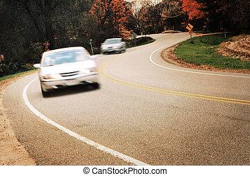 mouvement, voitures, barbouillage, autour de, courbe