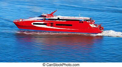 mouvement, yacht, rouges, barbouillage