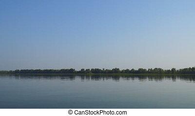 mouvements, banque, eau, sur, grand, là, rivière, appareil photo, forêt