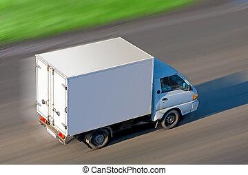 mouvements, camion, route