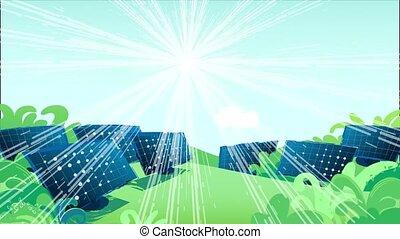 mouvements, champs, ciel, illumine, solaire, soleil, panneaux, travers