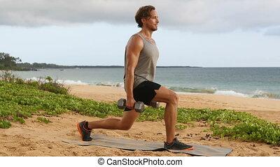 mouvements, exercice, haltère, dumbbells, homme, fitness, ...