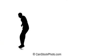 mouvements, lent, breakdance, danse, silhouette, jeune, mouvement, danseur, blanc, homme