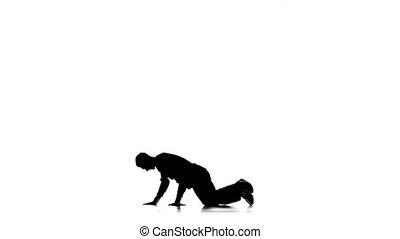 mouvements, lent, breakdance, danse, silhouette, jeune, mouvement, danseur, blanc, professionnel, homme