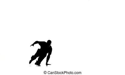 mouvements, lent, breakdance, danse, silhouette, mouvement, danseur, blanc, homme