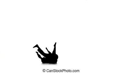 mouvements, lent, breakdance, danse, silhouette, mouvement, danseur, blanc, professionnel, homme