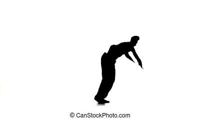 mouvements, lent, breakdance, danse, silhouette, professionally, mouvement, blanc, homme