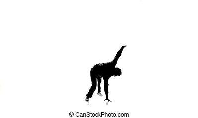 mouvements, lent, breakdance, danse, silhouette, professionally, mouvement, danseur, blanc, homme