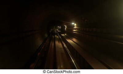 mouvements, métro, tunnel, rails, sombre, appareil photo, long, arrière