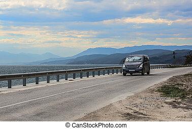 mouvements, minivan, mer, autoroute, long