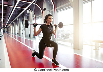 mouvements, moderne, gymnase, girl, barre disques