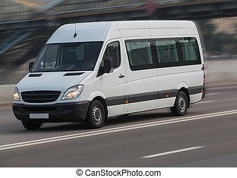 mouvements, ville, rue., minibus